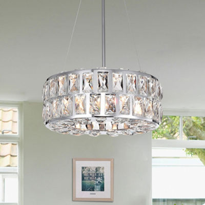 Darine Chrome-finished Metal 13-inch 3-light Pendant with Crystal Accents