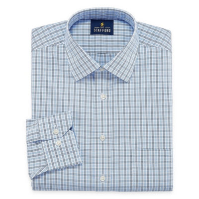 Stafford Executive Non-Iron Cotton Pinpoint Oxford Big And Tall Long Sleeve Plaid Dress Shirt