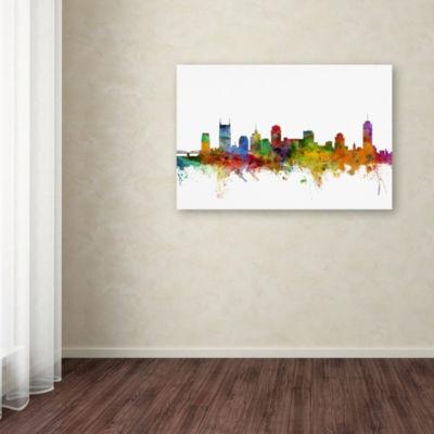 Trademark Fine Art Michael Tompsett Nashville Tennessee Skyline Giclee Canvas Art