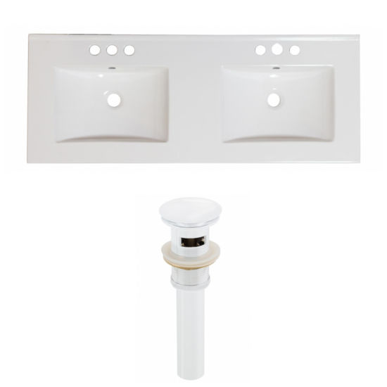 59-in. W 3H4-in. Ceramic Top Set In White Color -Overflow Drain Incl.