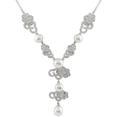Womens White Cultured Freshwater Pearl Statement Necklace