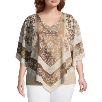 Lark Lane Must Haves Scroll Overlay Blouse with Tank- Plus