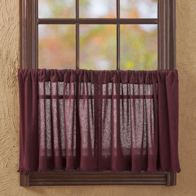 Farmhouse Window Tobacco Cloth Fringed Tier Pair