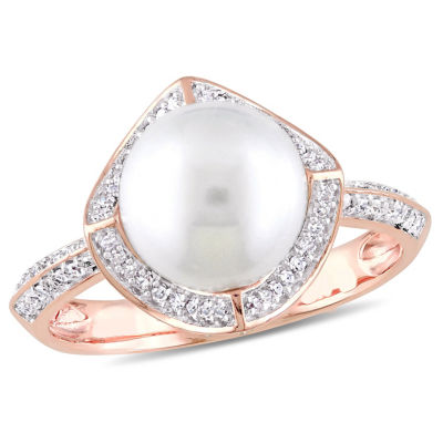 Womens 1/4 CT. T.W. 9MM White Cultured Freshwater Pearl 10K Rose Gold Cocktail Ring