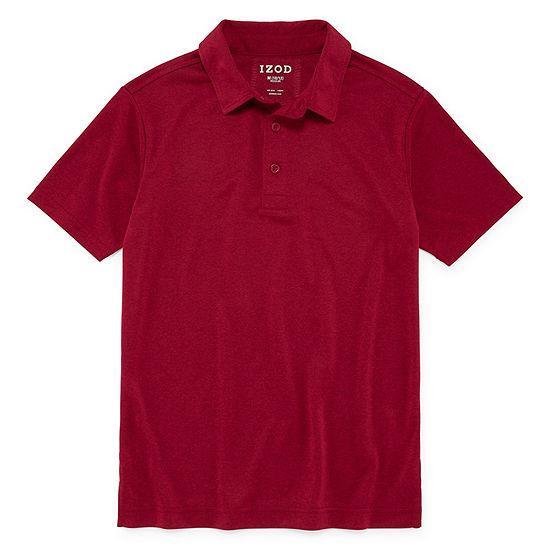 Izod Exclusive Boys Spread Collar Short Sleeve Moisture Wicking Polo Shirt Preschool / Big Kid Husky