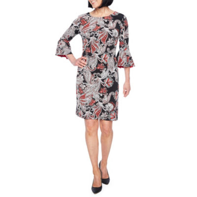 Liz Claiborne 3/4 Sleeve Pattern Shift Dress