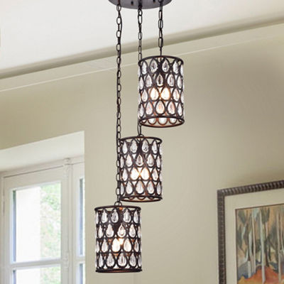 Ginsmore 3-Lamp 3-Shade Crystal Antique Bronze Pendant