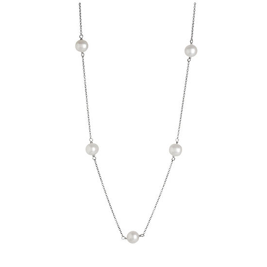 Womens 18 Inch White Sterling Silver Link Necklace