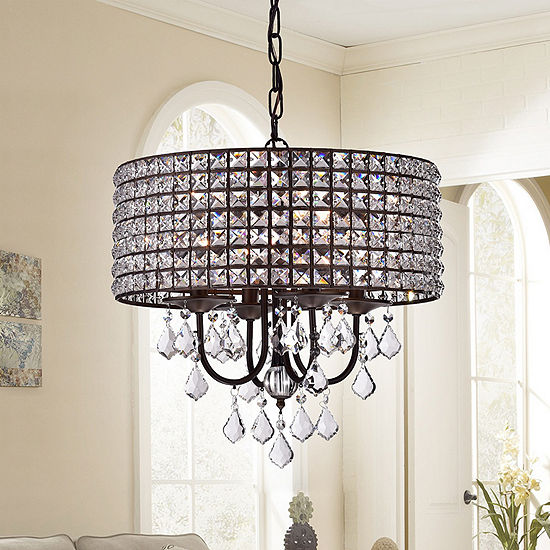 Darlic Antique Bronze Crystal 18-inch 4-light Pendant