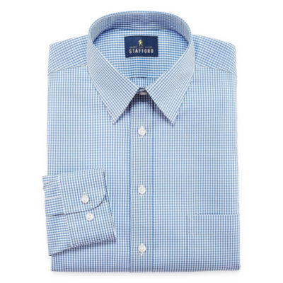 Stafford Comfort Stretch Big And Tall Long Sleeve Woven Gingham Dress Shirt