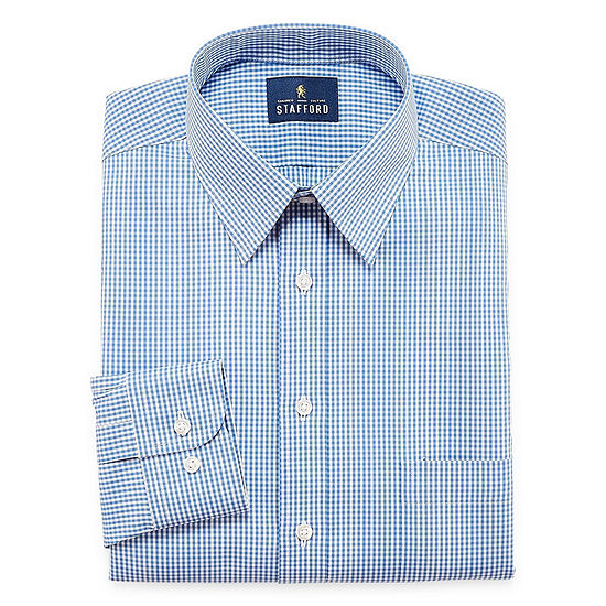Stafford Comfort Stretch Big And Tall Mens Point Collar Long Sleeve Stretch Dress Shirt