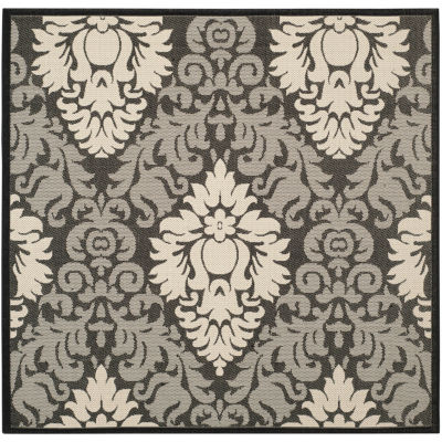Safavieh Courtyard Collection Louise Damask Indoor/Outdoor Square Area Rug