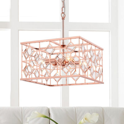 Galiaka Rose Gold Metal/Glass 4-inch Square 4-light Cage Pendant