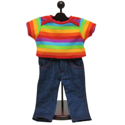 The Queen's Treasures Jeans & Rainbow Shirt Outfit; 18 Inch Doll