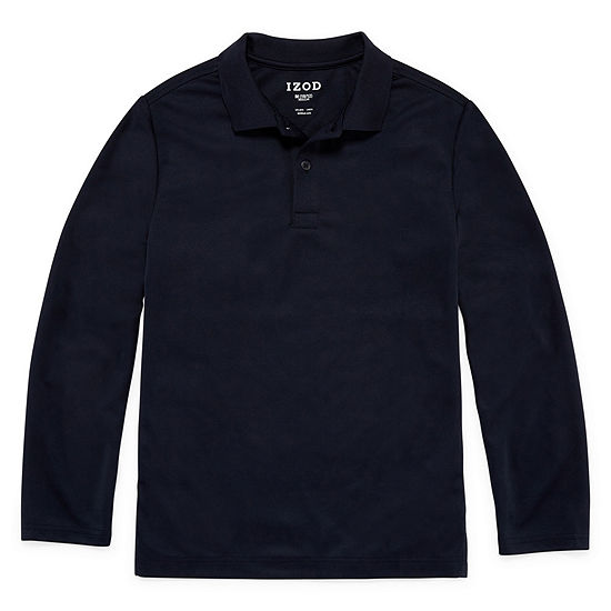 IZOD Little & Big Boys Long Sleeve Wrinkle Resistant Moisture Wicking Polo Shirt