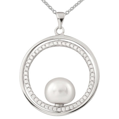 Womens White Cultured Freshwater Pearl Pendant Necklace
