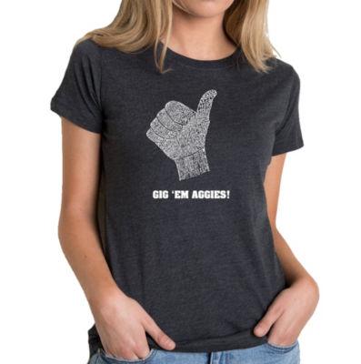 Los Angeles Pop Art Women's Premium Blend Word ArtT-shirt - Gig 'Em Aggies