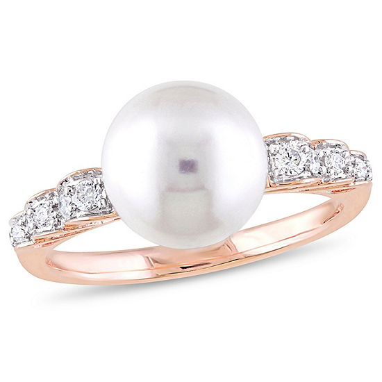 Womens 1/8 CT. T.W. 9.5M White Cultured Freshwater Pearl 10K Rose Gold Cocktail Ring