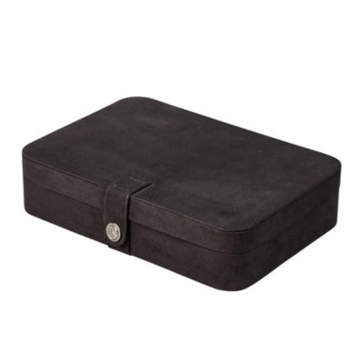 Mele & Co. Maria Plush Fabric Jewelry Box in Black