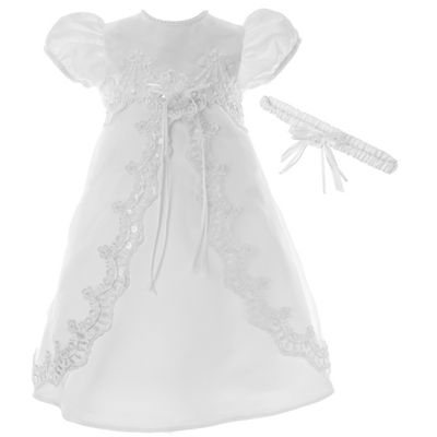 Keepsake® Short-Sleeve Christening Dress and Headband - Baby Girls