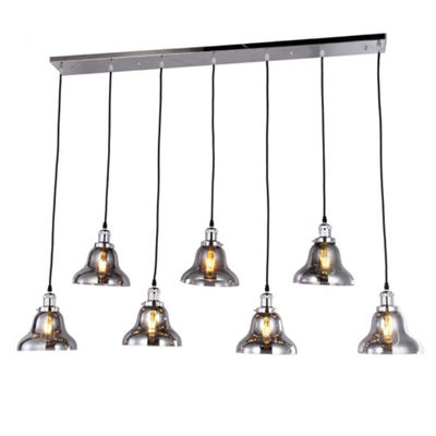 Jaslil Chrome 7-light Chandelier with 8-inch Smokey Glass Shades with Edison Bulbs