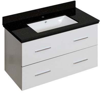 36-in. W Wall Mount White Vanity Set For 1 Hole Drilling Black Galaxy Top White UM Sink