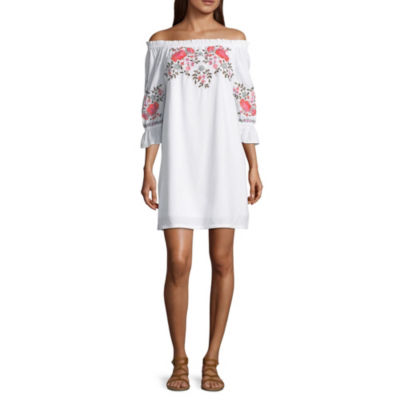 a.n.a Off the Shoulder Silhouette Embriodered Dress - Tall