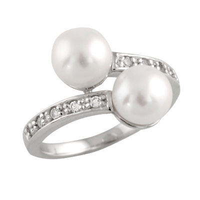 Womens 2mm 7MM White Cultured Freshwater Pearl Cocktail Ring