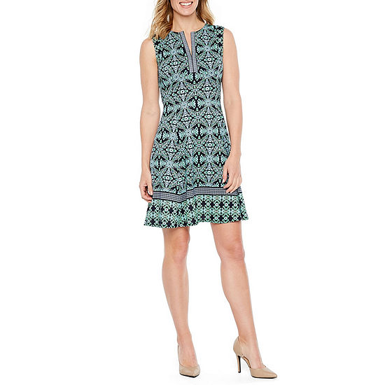 Liz Claiborne Sleeveless Medallion Fit & Flare Dress