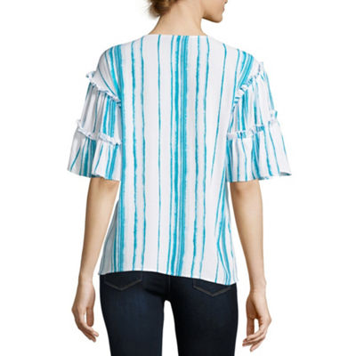a.n.a Womens V Neck Elbow Sleeve Woven Blouse-Tall