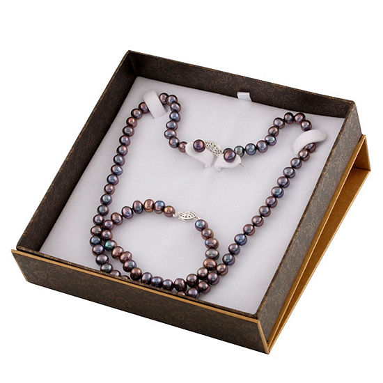 Black Cultured Freshwater Pearl 3-pc. Jewelry Set