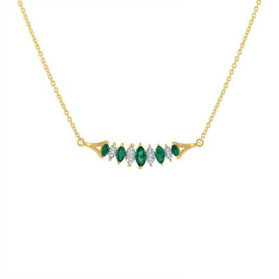 Womens 1/10 CT. T.W. Green Emerald 10K Gold Link Necklace