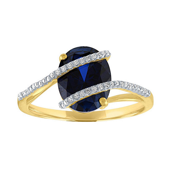 Womens 1 10 Ct Tw Lab Created Blue Sapphire 10k Gold Cocktail Ring