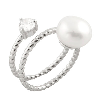 Womens 5mm 10mm White Cultured Freshwater Pearl Band