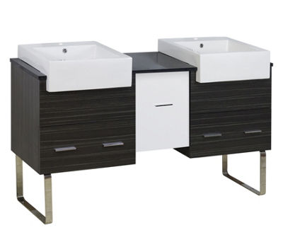 59.5-in. W 18-in. D Modern Plywood-Melamine VanityBase Set Only In White-Dawn Grey