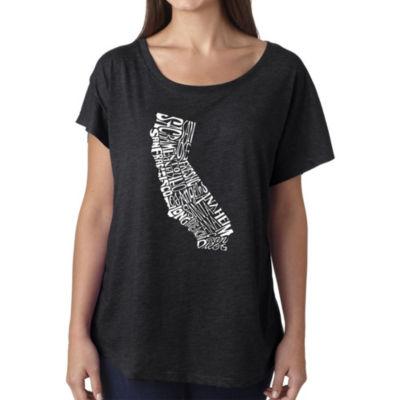 Los Angeles Pop Art Women's Loose Fit Dolman Cut Word Art Shirt - California State