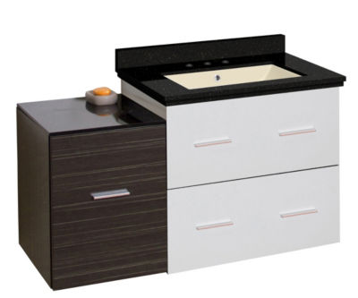 37.75-in. W Wall Mount White-Dawn Grey Vanity SetFor 3H8-in. Drilling Black Galaxy Top Biscuit UM Sink
