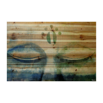 Meditation Painting Print on Natural Pine Wood