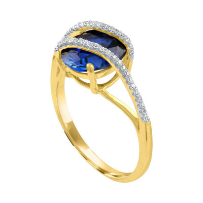 Womens 1/10 CT. T.W. Blue Sapphire 10K Gold Cocktail Ring