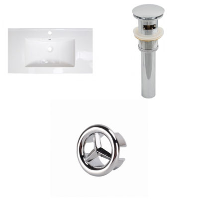 36.75-in. W 1 Hole Ceramic Top Set In White Color- Overflow Drain Incl.