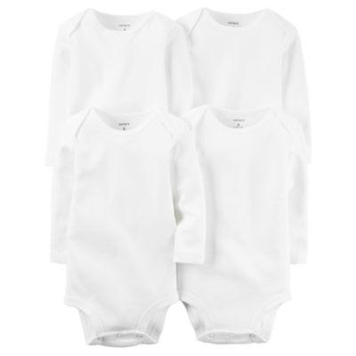 Carter's Little Baby Basics 4 Pack Long Sleeve White Bodysuit - Baby Preemie-24M