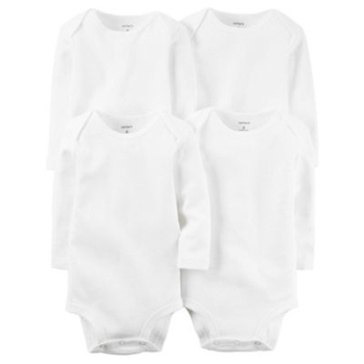 Carter's Little Baby Basics 4-Pk. Long Sleeve White Bodysuit - Baby Boys