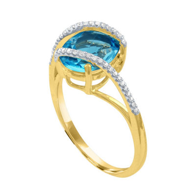 Womens 1/10 CT. T.W. Genuine Blue Topaz 10K Gold Cocktail Ring