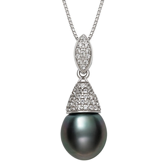 Womens Cultured Tahitian Pearl & Lab-Created Sapphire Sterling Silver Pendant Necklace