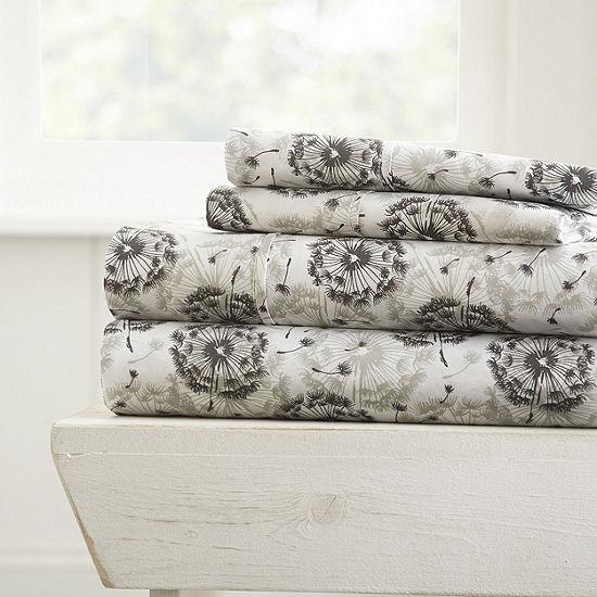 Casual Comfort Premium Ultra Soft Make a Wish Pattern 4 Piece Bed Sheet Set