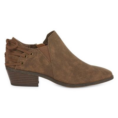 Pop Womens Jacobi Bootie Block Heel Zip