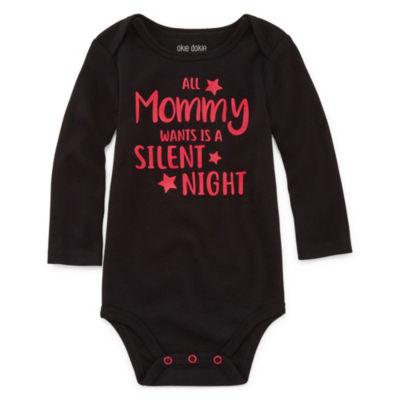 "Okie Dokie ""All Mommy Wants is a Silent Night"" Slogan Long Sleeve Bodysuit - Baby NB-24M"