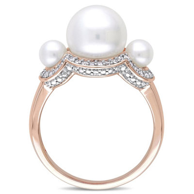 Womens 1/5 CT. T.W. 9.5M White Cultured Freshwater Pearl 10K Rose Gold Cocktail Ring