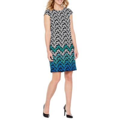 Liz Claiborne Cap Sleeve Chevron Print Shift Dress