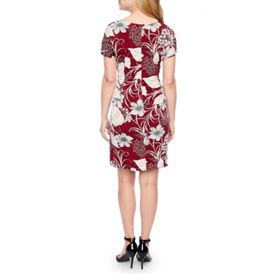Robbie Bee Short Sleeve Floral Shift Dress-Petite